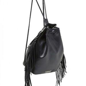 Victoria's Secret Black Fringe Backpack Bag